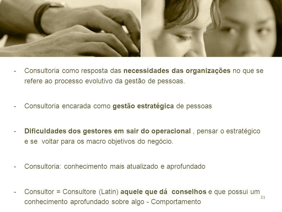 Consultoria como resposta das necessidades das organizações no que se refere ao processo evolutivo da gestão de pessoas.