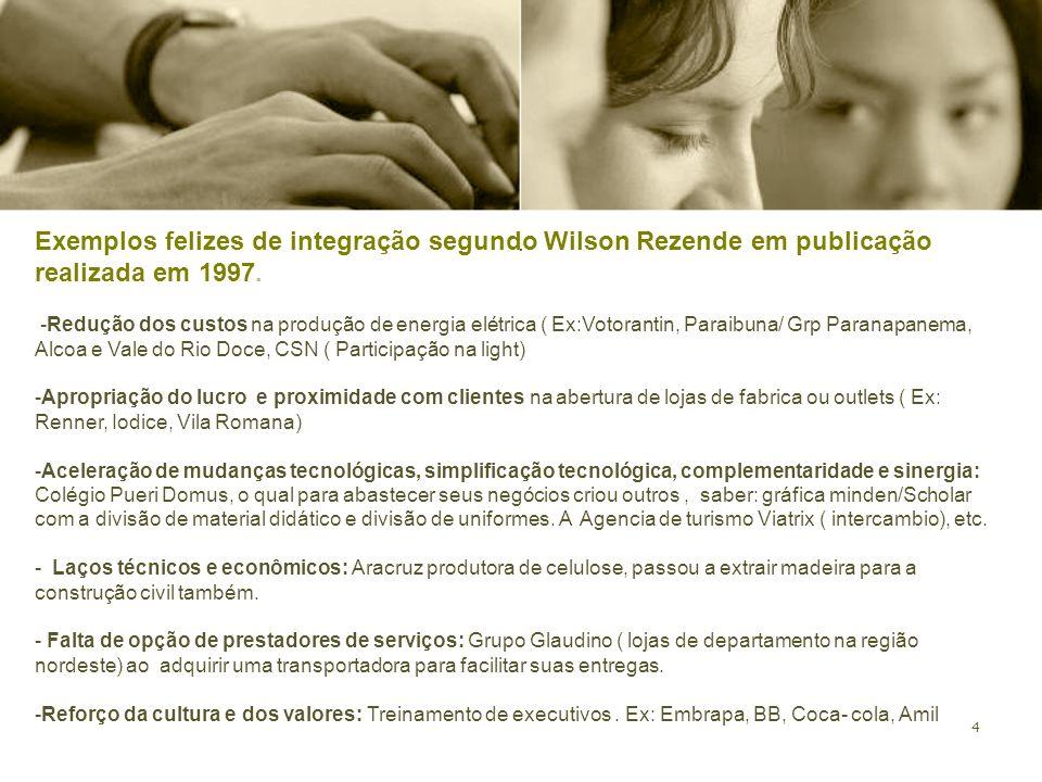 . Exemplos felizes de integração segundo Wilson Rezende em publicação realizada em 1997.