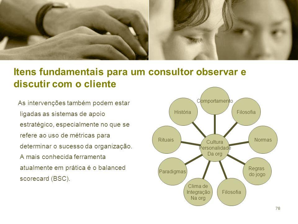 Itens fundamentais para um consultor observar e discutir com o cliente