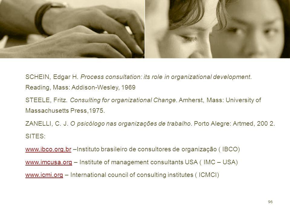 SCHEIN, Edgar H. Process consultation: its role in organizational development. Reading, Mass: Addison-Wesley, 1969