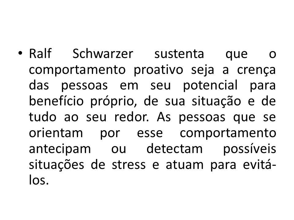 Ralf Schwarzer sustenta que o comportamento proativo seja a crença das pessoas em seu potencial para benefício próprio, de sua situação e de tudo ao seu redor.