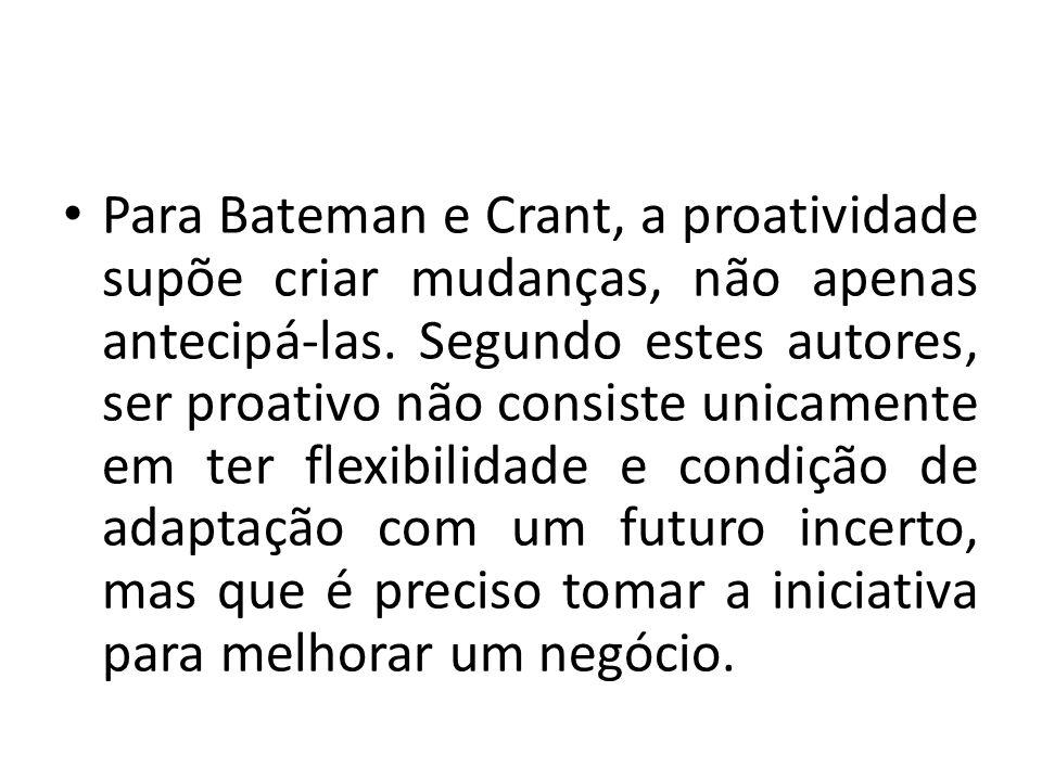 Para Bateman e Crant, a proatividade supõe criar mudanças, não apenas antecipá-las.