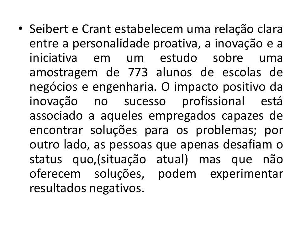 Seibert e Crant estabelecem uma relação clara entre a personalidade proativa, a inovação e a iniciativa em um estudo sobre uma amostragem de 773 alunos de escolas de negócios e engenharia.