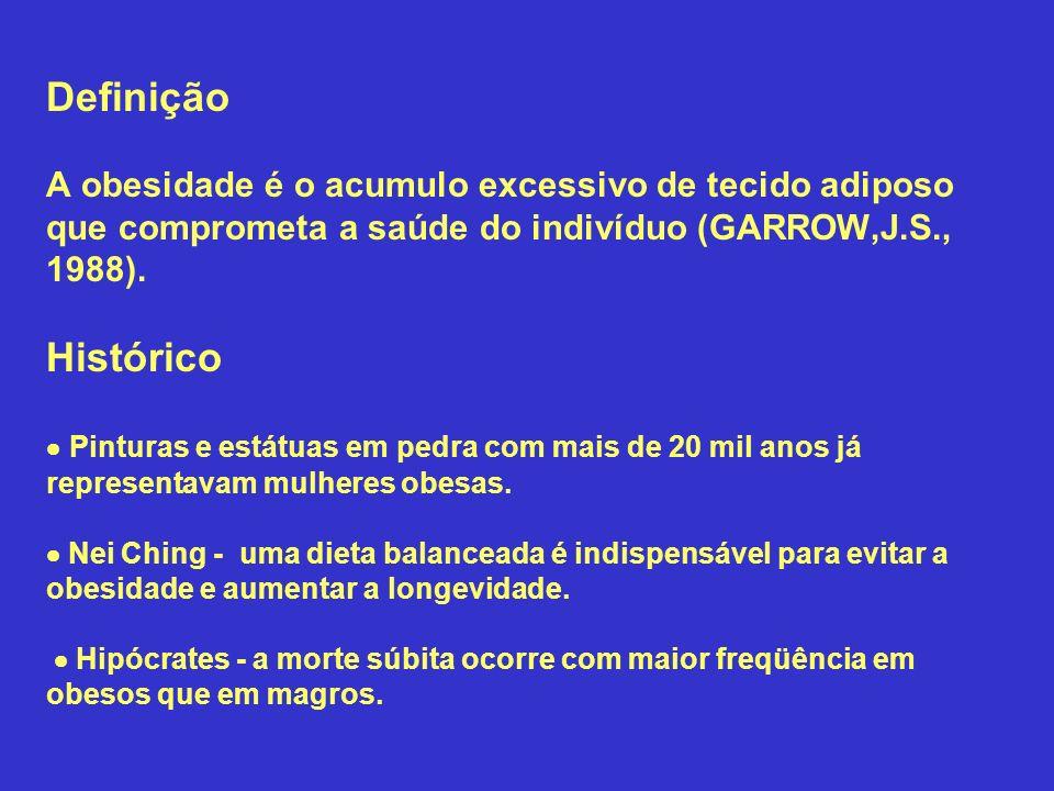 Definição A obesidade é o acumulo excessivo de tecido adiposo que comprometa a saúde do indivíduo (GARROW,J.S., 1988).