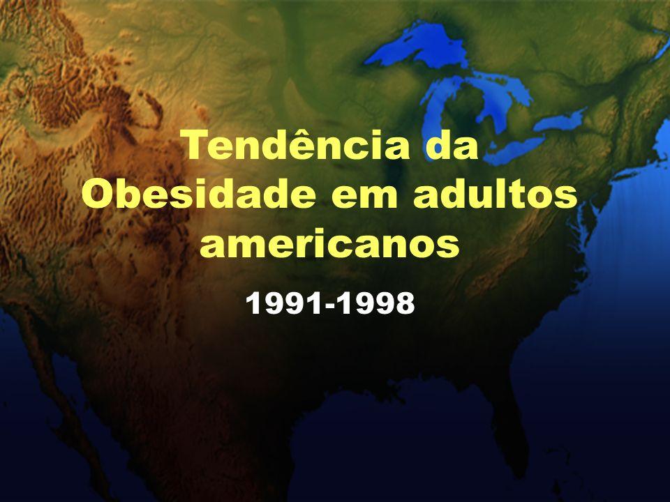Prevalência de obesidade em americanos adultos BRFSS, 1991