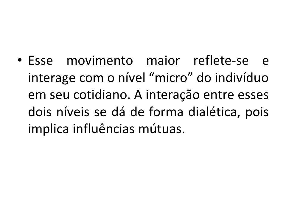 Esse movimento maior reflete-se e interage com o nível micro do indivíduo em seu cotidiano.