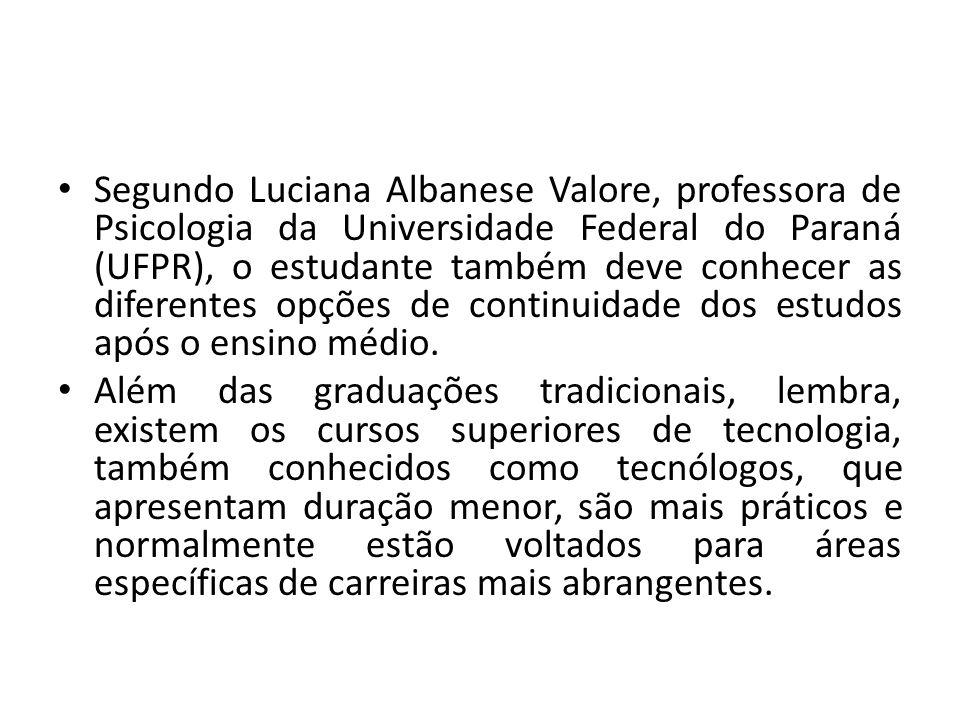 Segundo Luciana Albanese Valore, professora de Psicologia da Universidade Federal do Paraná (UFPR), o estudante também deve conhecer as diferentes opções de continuidade dos estudos após o ensino médio.
