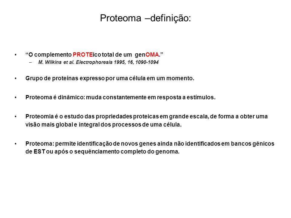 Proteoma –definição: O complemento PROTEico total de um genOMA.