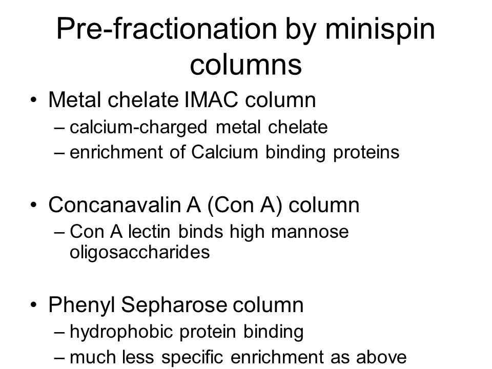 Pre-fractionation by minispin columns