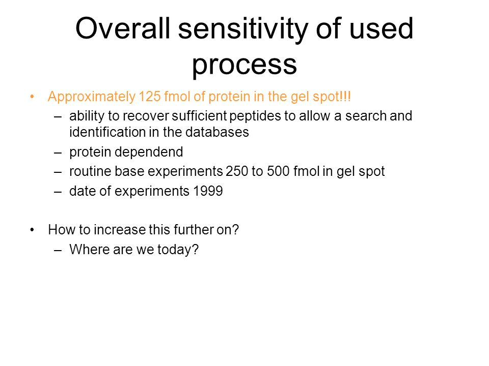 Overall sensitivity of used process