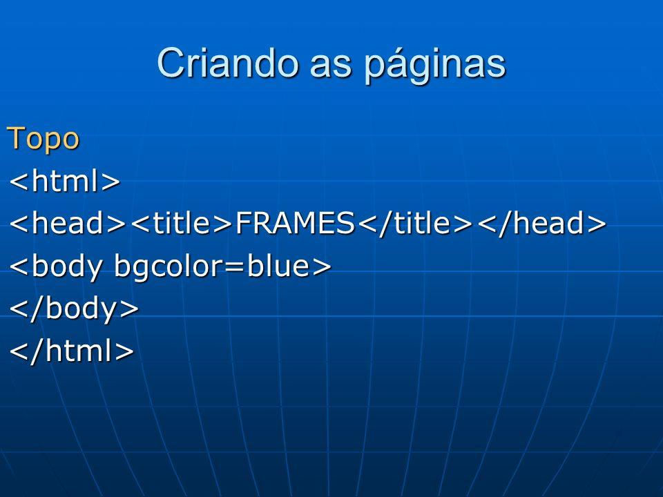 Criando as páginas Topo <html>