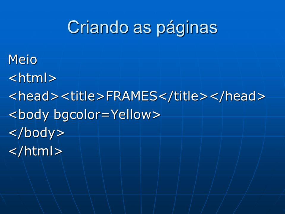 Criando as páginas Meio <html>