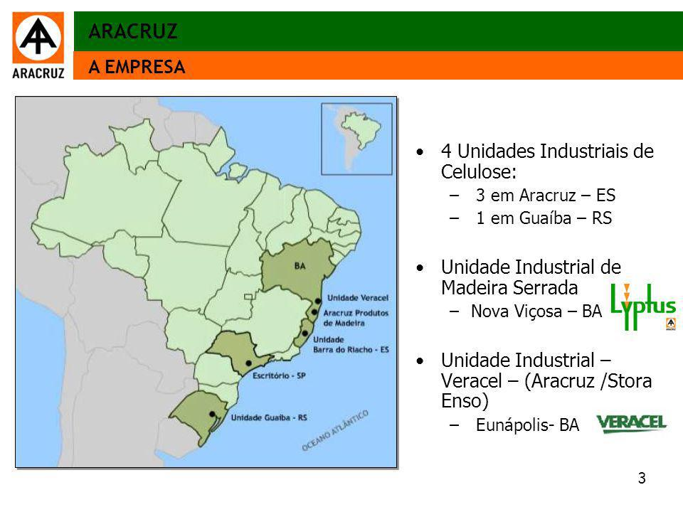ARACRUZ A EMPRESA 4 Unidades Industriais de Celulose: