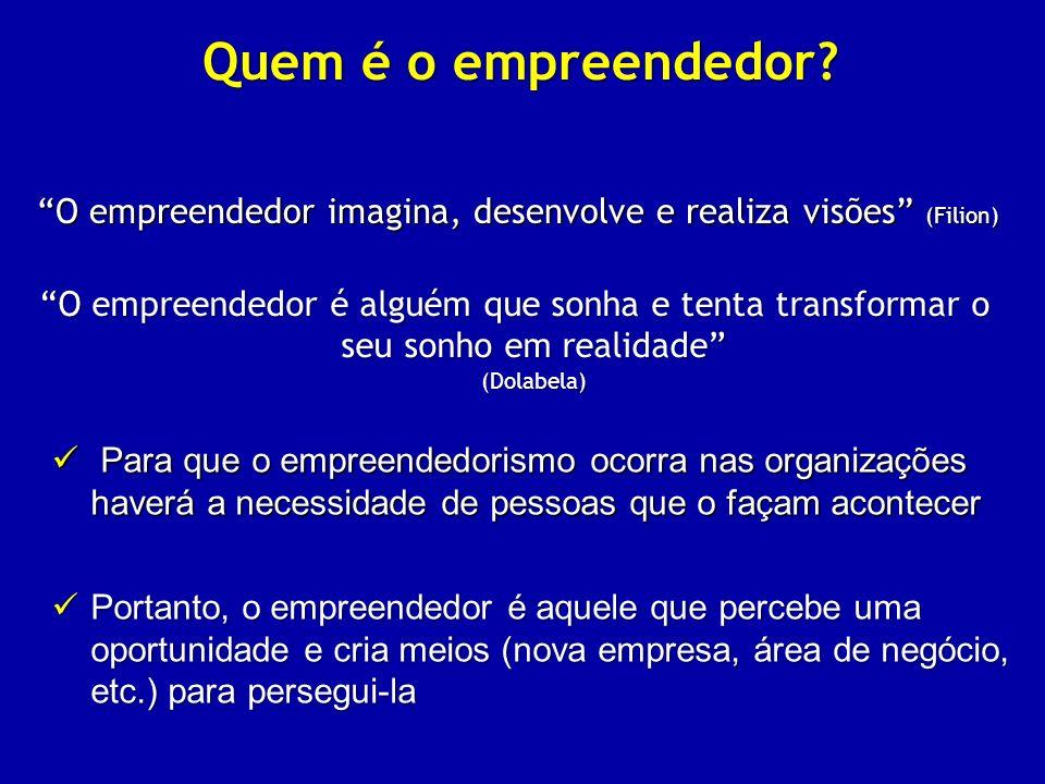O empreendedor imagina, desenvolve e realiza visões (Filion)