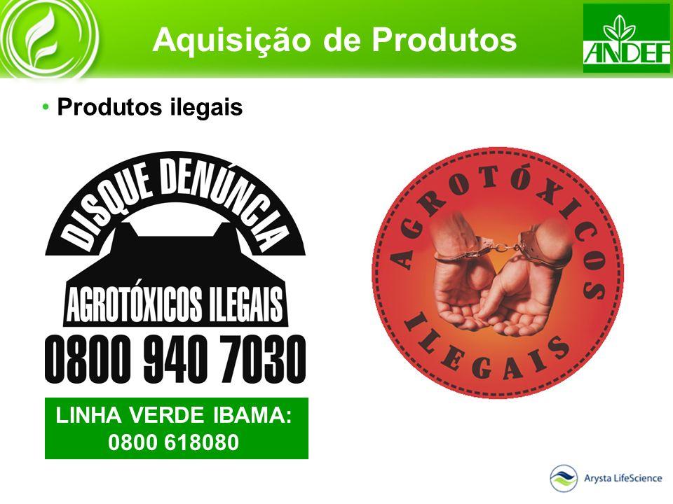 Aquisição de Produtos Produtos ilegais LINHA VERDE IBAMA: 0800 618080