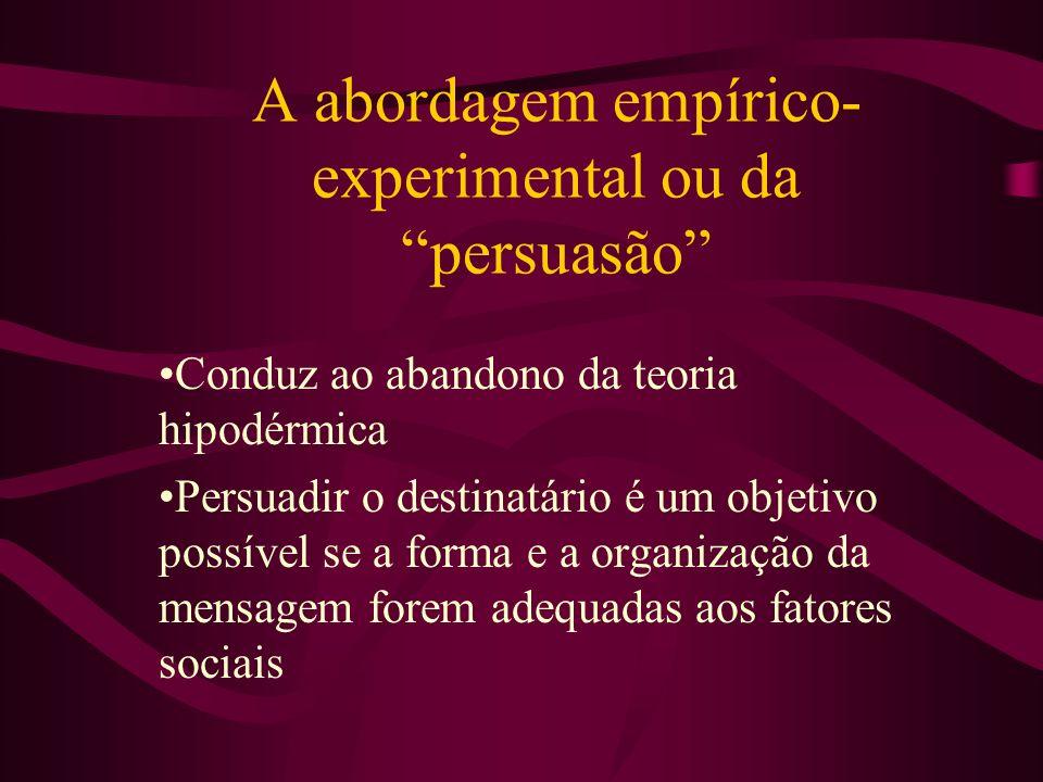 A abordagem empírico-experimental ou da persuasão