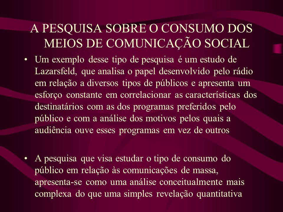 A PESQUISA SOBRE O CONSUMO DOS MEIOS DE COMUNICAÇÃO SOCIAL