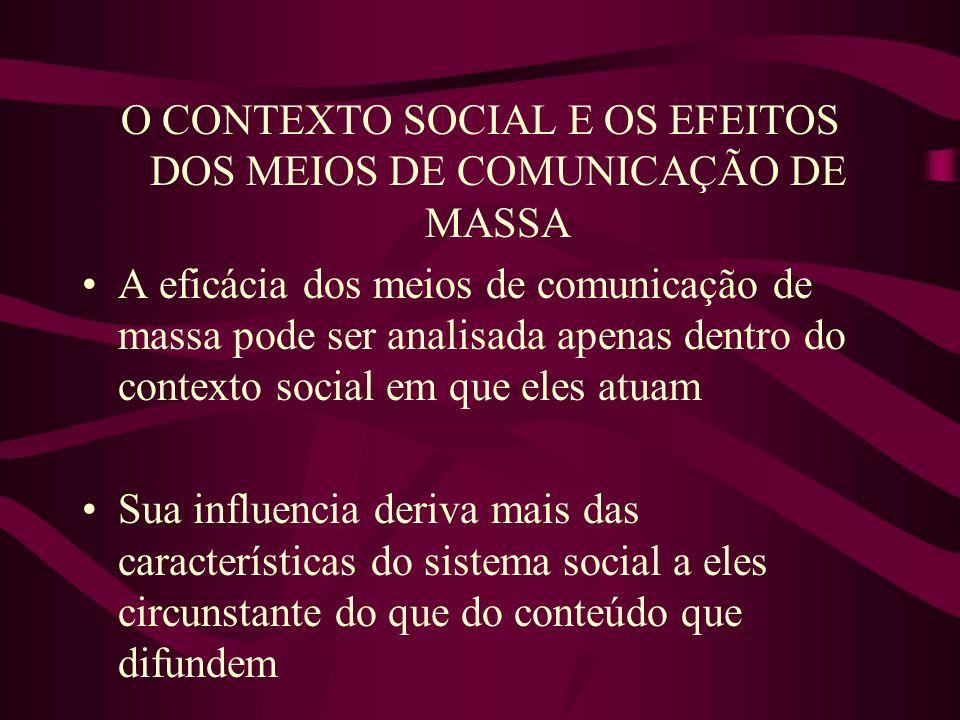O CONTEXTO SOCIAL E OS EFEITOS DOS MEIOS DE COMUNICAÇÃO DE MASSA