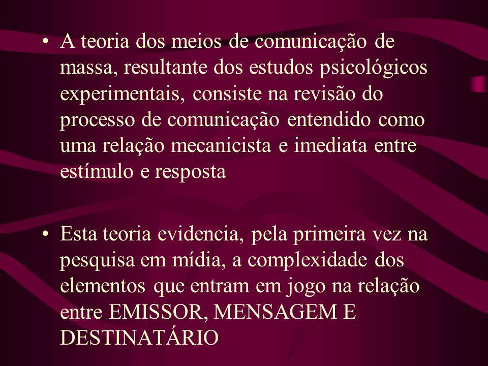 A teoria dos meios de comunicação de massa, resultante dos estudos psicológicos experimentais, consiste na revisão do processo de comunicação entendido como uma relação mecanicista e imediata entre estímulo e resposta