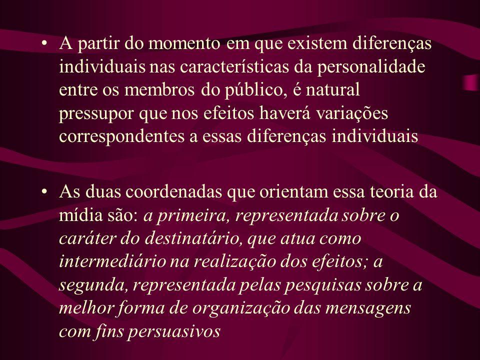 A partir do momento em que existem diferenças individuais nas características da personalidade entre os membros do público, é natural pressupor que nos efeitos haverá variações correspondentes a essas diferenças individuais