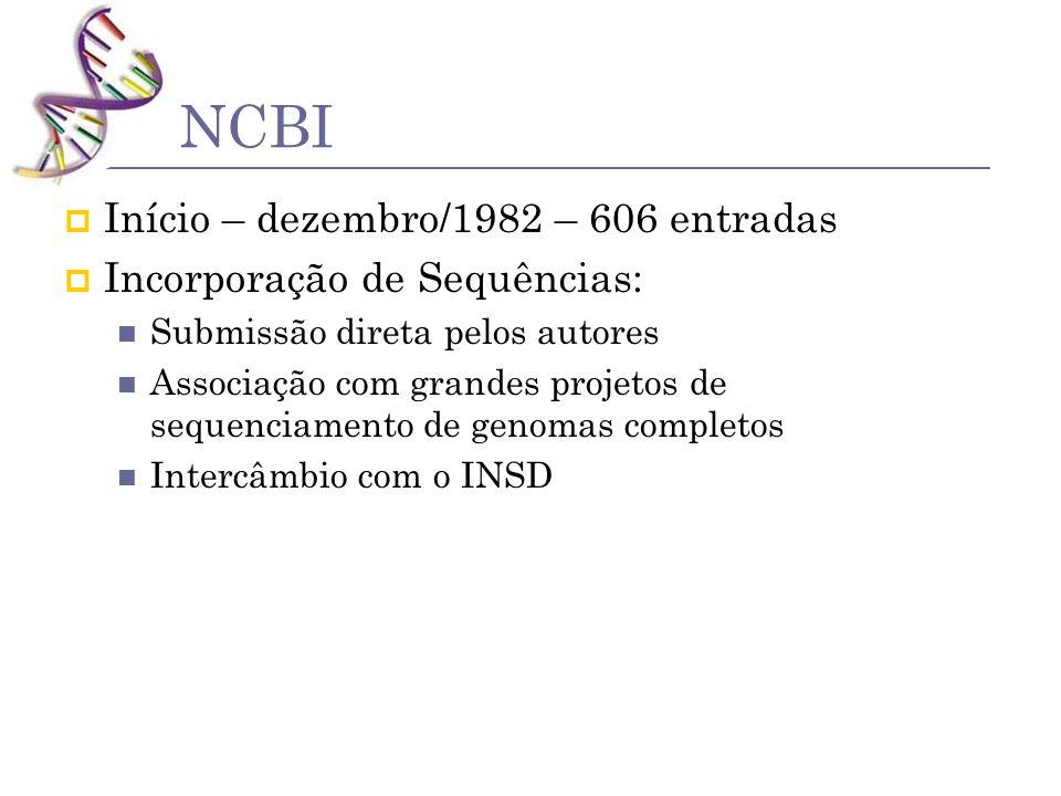 NCBI Início – dezembro/1982 – 606 entradas Incorporação de Sequências: