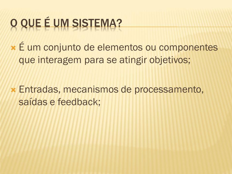 O que é um Sistema É um conjunto de elementos ou componentes que interagem para se atingir objetivos;