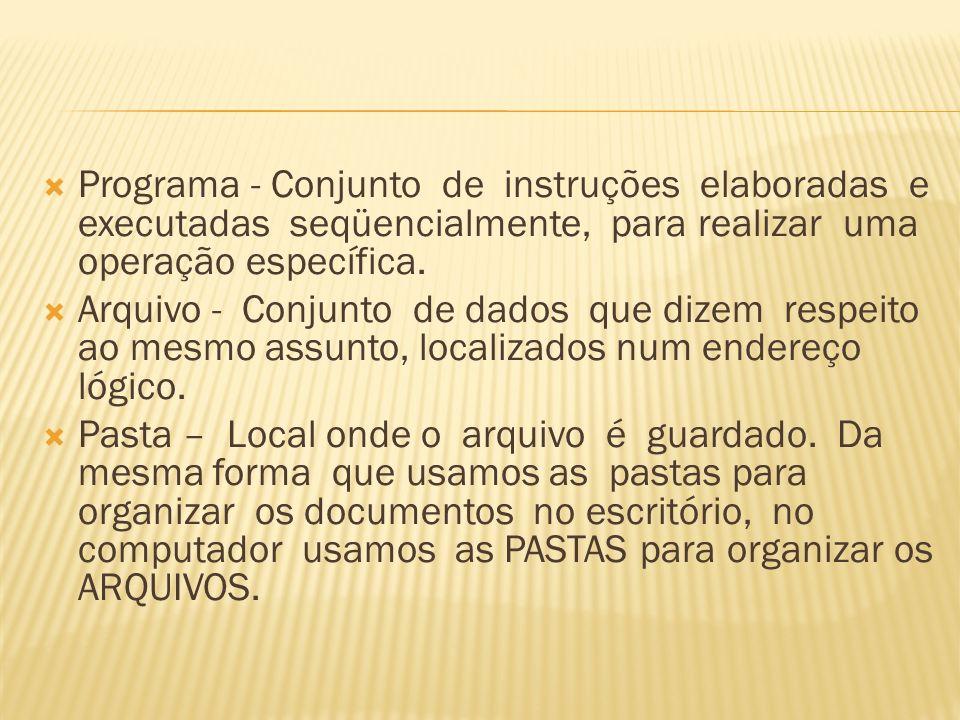 Programa - Conjunto de instruções elaboradas e executadas seqüencialmente, para realizar uma operação específica.