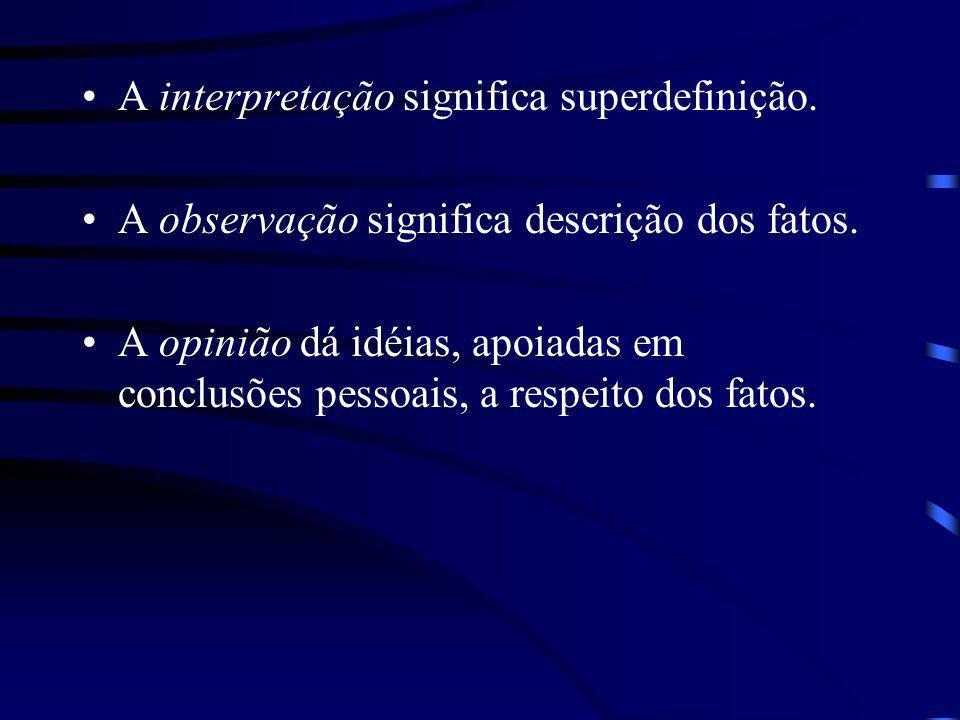 A interpretação significa superdefinição.