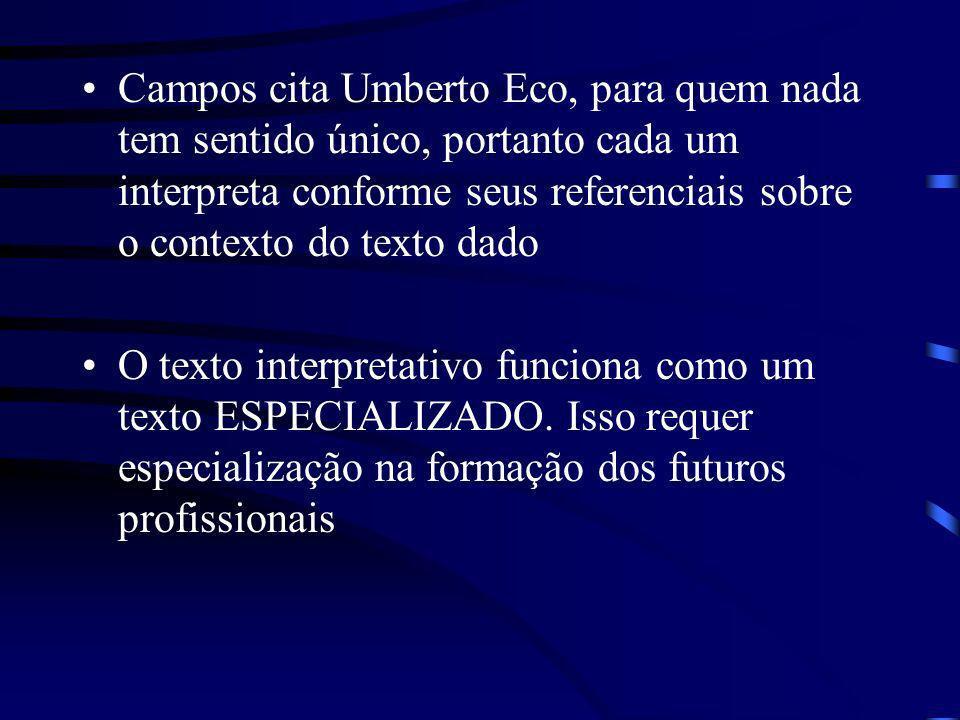 Campos cita Umberto Eco, para quem nada tem sentido único, portanto cada um interpreta conforme seus referenciais sobre o contexto do texto dado