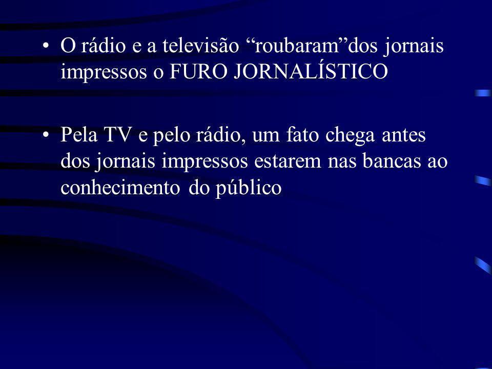 O rádio e a televisão roubaram dos jornais impressos o FURO JORNALÍSTICO