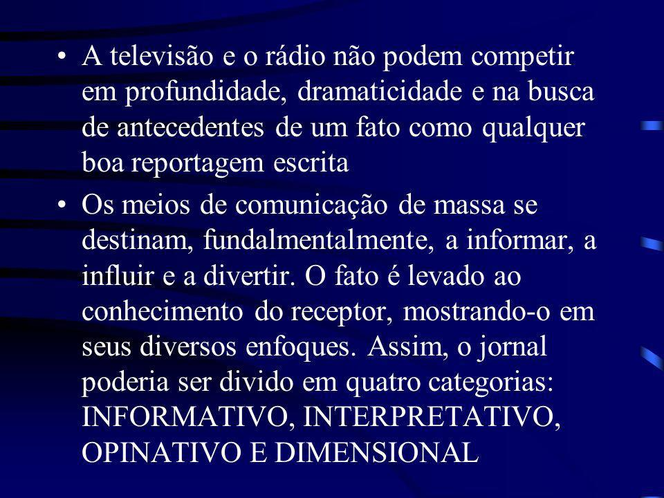 A televisão e o rádio não podem competir em profundidade, dramaticidade e na busca de antecedentes de um fato como qualquer boa reportagem escrita
