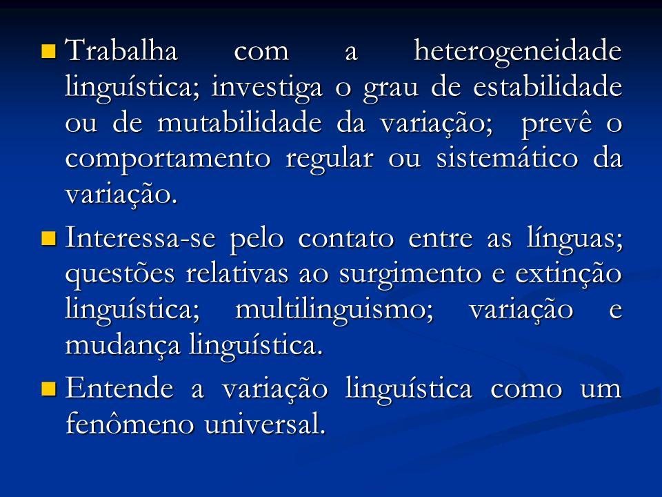 Trabalha com a heterogeneidade linguística; investiga o grau de estabilidade ou de mutabilidade da variação; prevê o comportamento regular ou sistemático da variação.