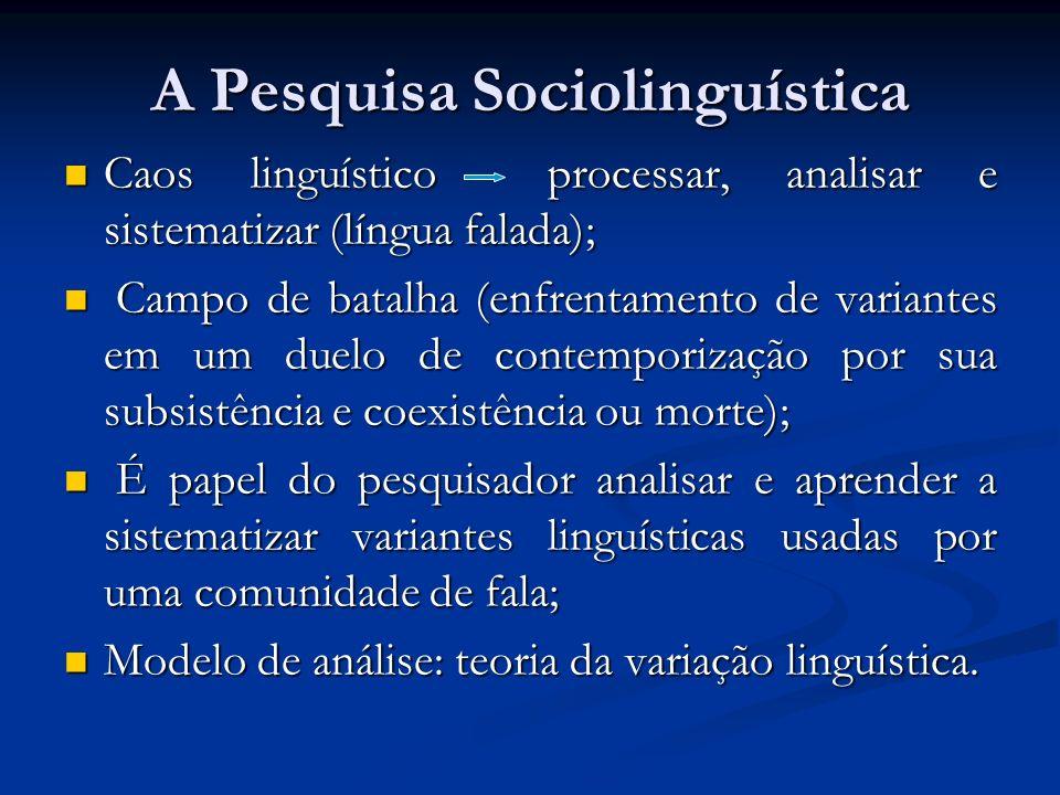 A Pesquisa Sociolinguística