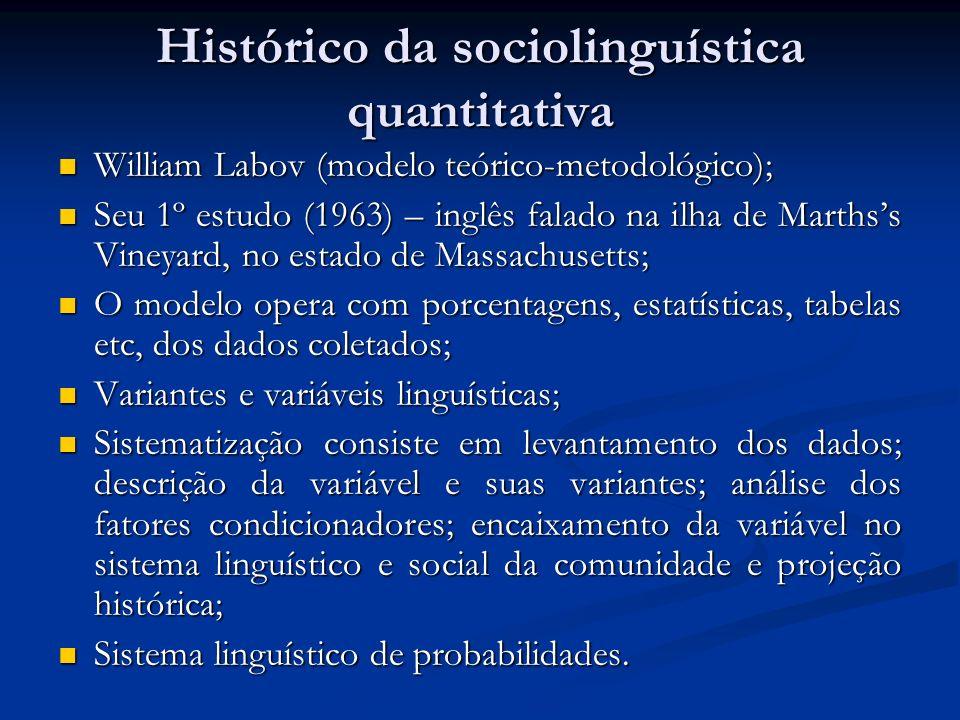 Histórico da sociolinguística quantitativa