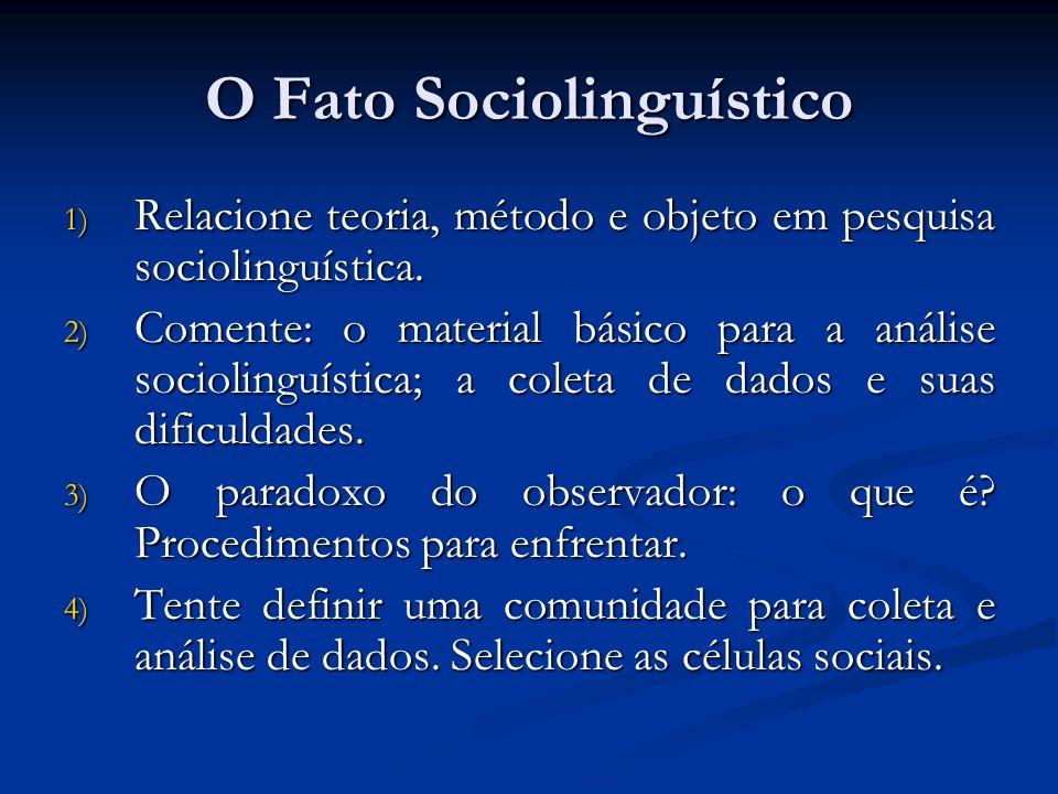 O Fato Sociolinguístico