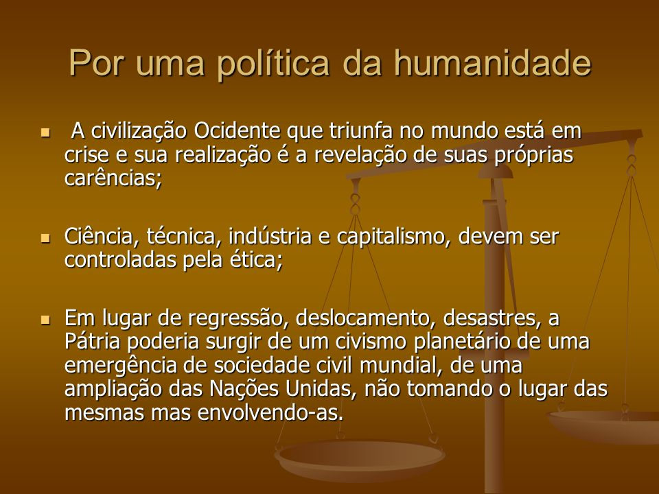 Por uma política da humanidade