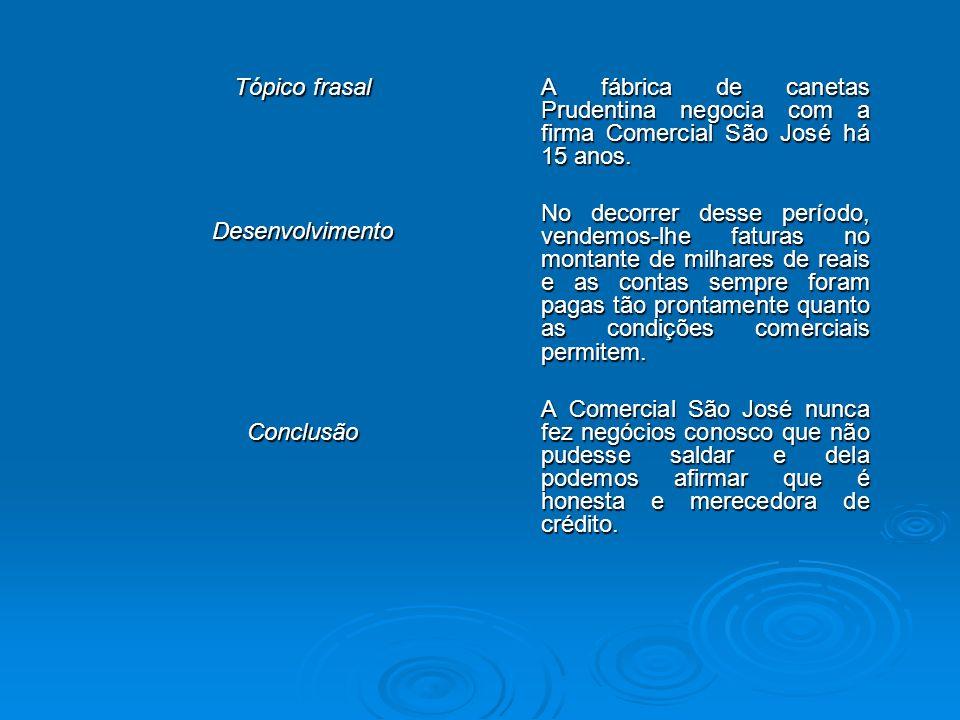 Tópico frasal Desenvolvimento. Conclusão. A fábrica de canetas Prudentina negocia com a firma Comercial São José há 15 anos.