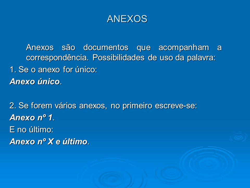 ANEXOS Anexos são documentos que acompanham a correspondência. Possibilidades de uso da palavra: 1. Se o anexo for único: