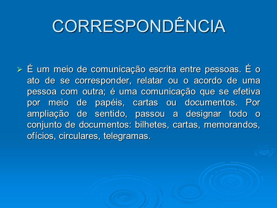 CORRESPONDÊNCIA