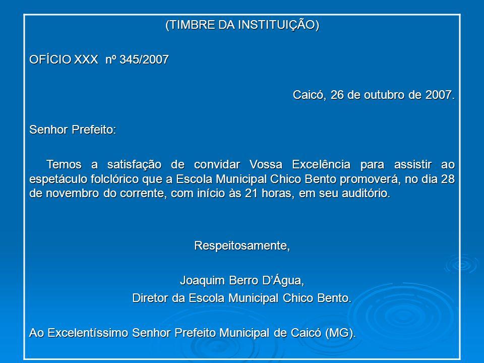 (TIMBRE DA INSTITUIÇÃO) OFÍCIO XXX nº 345/2007