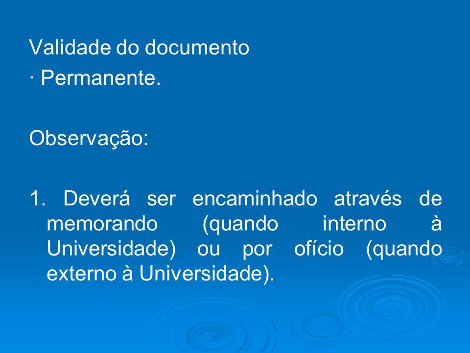 Validade do documento · Permanente. Observação: