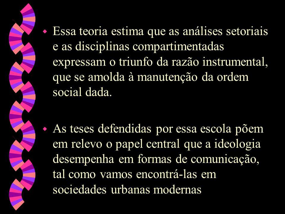 Essa teoria estima que as análises setoriais e as disciplinas compartimentadas expressam o triunfo da razão instrumental, que se amolda à manutenção da ordem social dada.