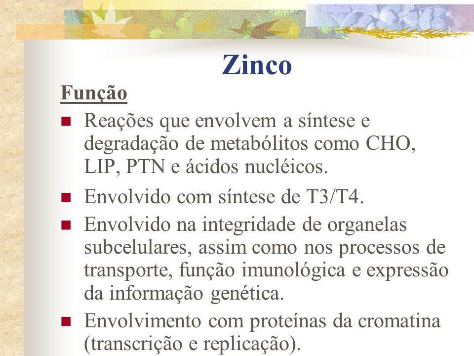 Zinco Função. Reações que envolvem a síntese e degradação de metabólitos como CHO, LIP, PTN e ácidos nucléicos.