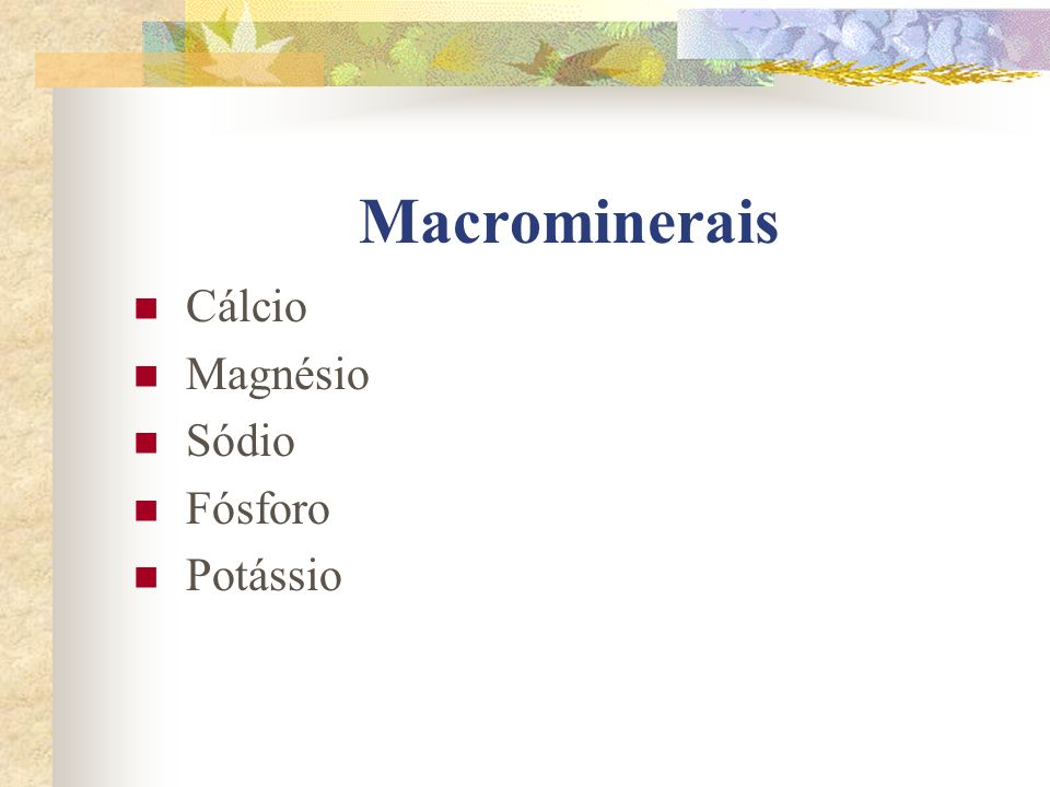 Macrominerais Cálcio Magnésio Sódio Fósforo Potássio