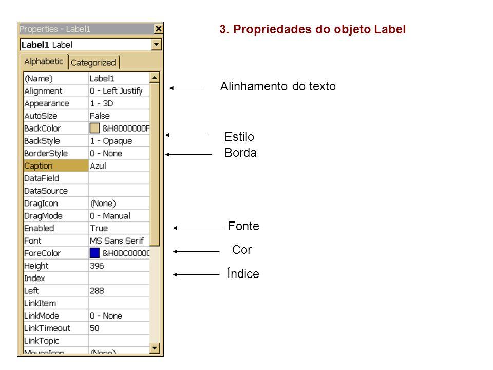 3. Propriedades do objeto Label