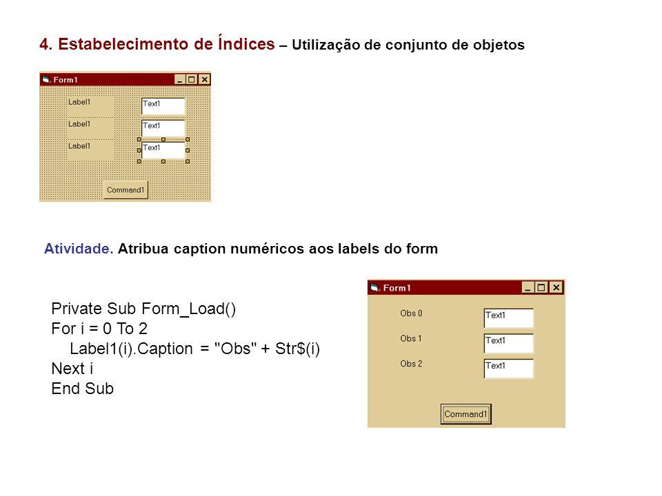 4. Estabelecimento de Índices – Utilização de conjunto de objetos