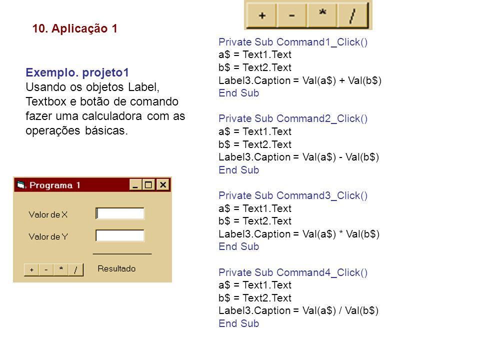 10. Aplicação 1 Exemplo. projeto1