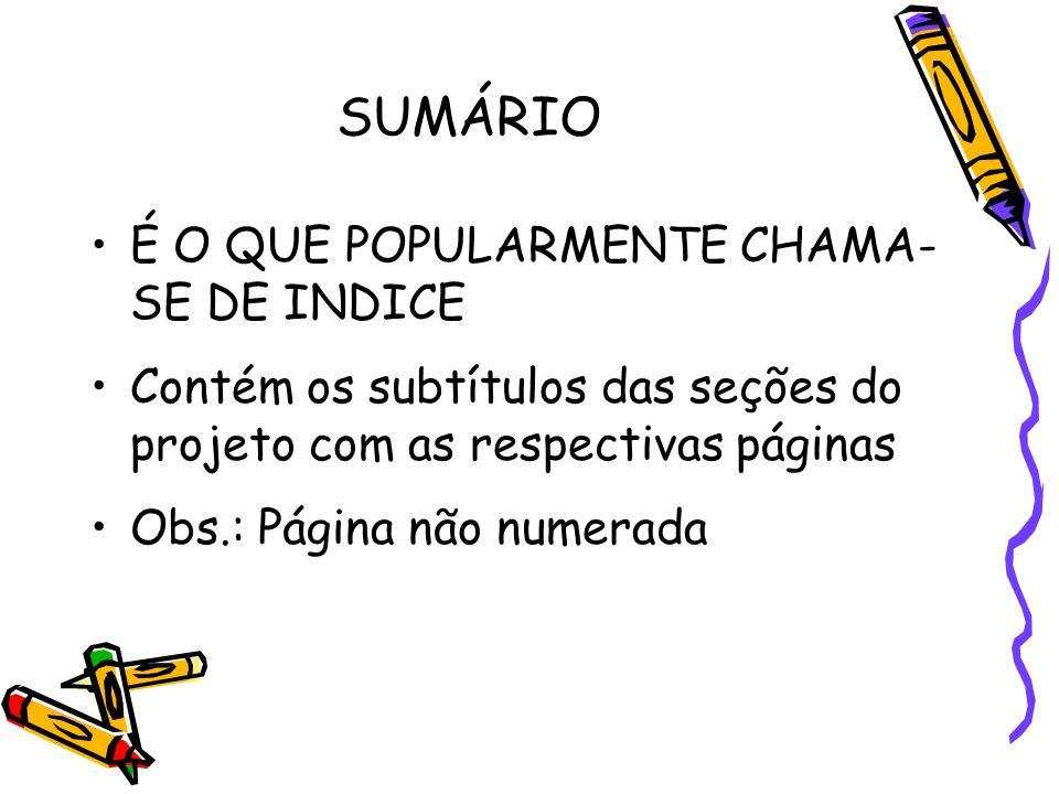 SUMÁRIO É O QUE POPULARMENTE CHAMA-SE DE INDICE