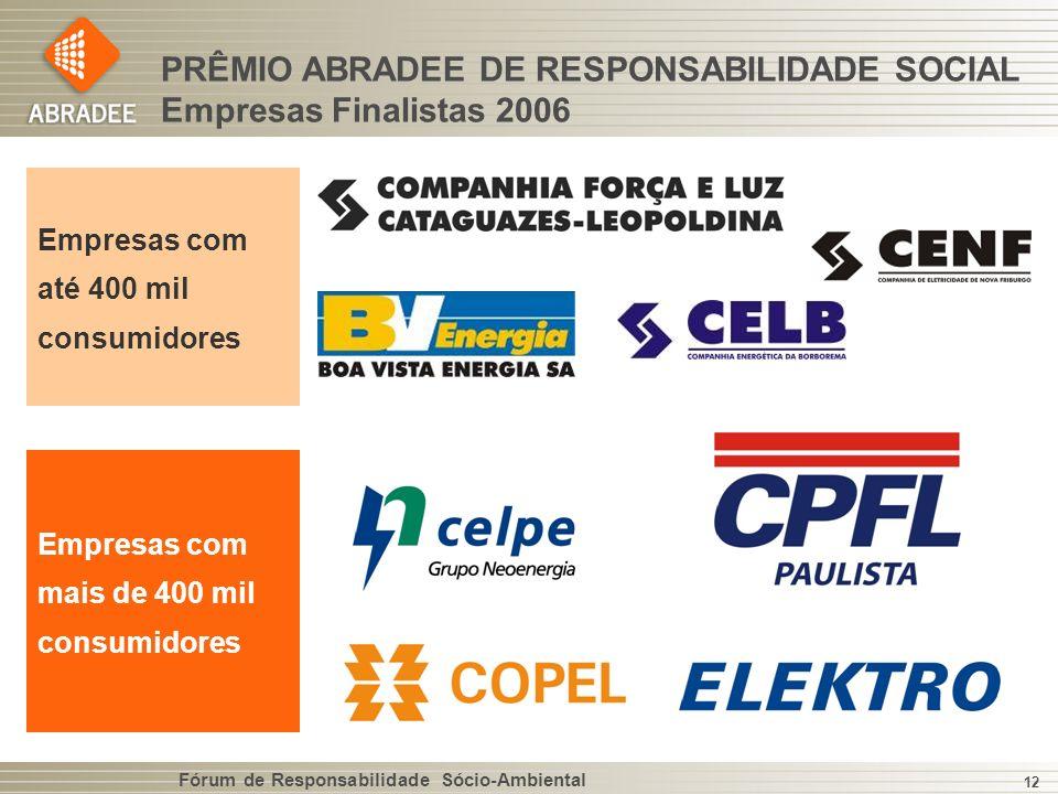 PRÊMIO ABRADEE DE RESPONSABILIDADE SOCIAL Empresas Finalistas 2006