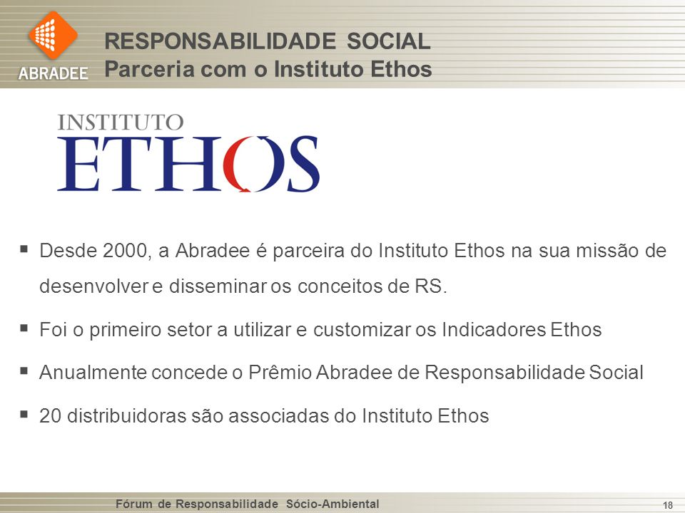 RESPONSABILIDADE SOCIAL Parceria com o Instituto Ethos